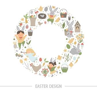 Cadre rond de pâques avec place pour le texte isolé sur fond blanc. bannière ou invitation sur le thème de la fête chrétienne encadrée en cercle. modèle de carte de printemps drôle mignon.