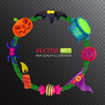 Cadre rond de pâte à modeler de vecteur fait main pour halloween. illustration vectorielle de chauve-souris, pot, bougie, citrouille, araignée, bonbons, chapeau et sucette isolé sur fond transparent