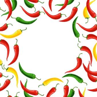 Cadre rond avec des piments colorés.