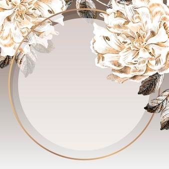 Cadre rond de pivoine dorée vecteur de modèle d'annonces sociales