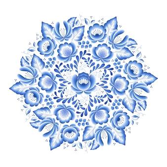 Cadre rond en porcelaine russe floral fleurs bleues avec bel ornement folklorique. illustration. composition décorative.