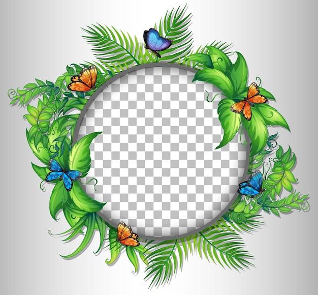 Cadre rond transparent avec feuilles tropicales et papillons