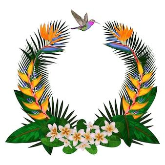 Cadre rond tropical avec des feuilles de fleurs et composition florale tropicale de colibri pour des t-shirts