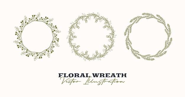 Cadre rond vecteur dessiné à la main couronne florale avec des branches de baies de feuilles