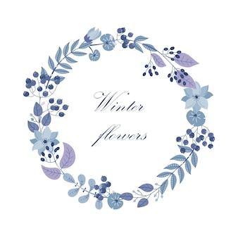 Cadre rond de vecteur d'hiver avec des plantes et des fleurs. couronne de fleurs