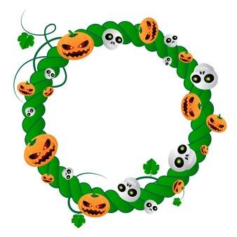 Cadre rond de vecteur pour les vacances d'halloween de plante verte avec des crânes et des citrouilles. illustration vectorielle avec place pour votre texte isolé sur fond blanc