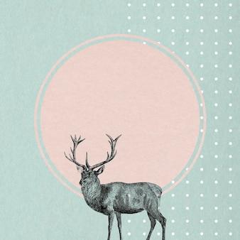 Cadre rond vide avec un cerf