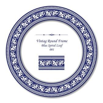 Cadre rond vintage de feuille en spirale bleue