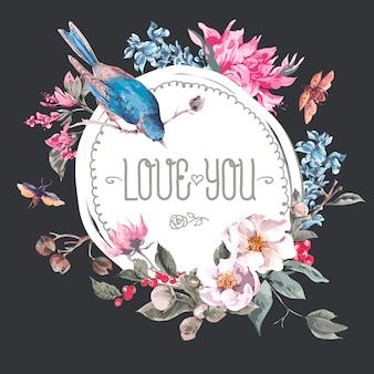 Cadre rond vintage avec des fleurs, des coléoptères et des oiseaux