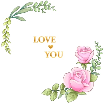 Cadre rose et feuilles