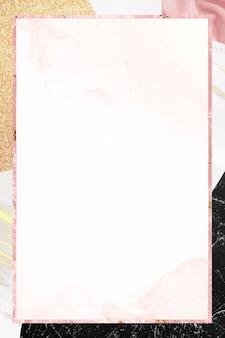 Cadre rose sur fond texturé en marbre
