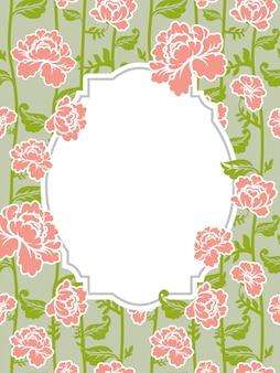 Cadre rose fond vintage. vieilles fleurs