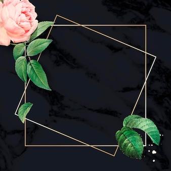 Cadre rose rose sur un vecteur de fond texturé en marbre