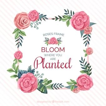 Cadre de roses aquarelles avec un bon message