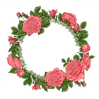 Cadre de roses corail