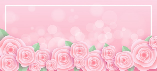 Cadre de roses en papier découpé