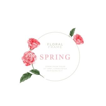 Cadre de roses de printemps aquarelle
