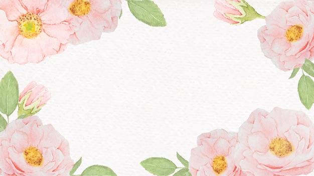 Cadre de roses roses aquarelle