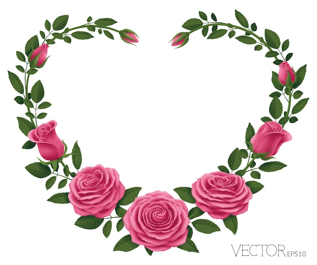Cadre roses roses avec coeur