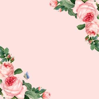 Cadre de roses roses dessinés à la main sur fond rose pastel