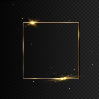 Cadre rougeoyant scintillant or vintage. bordure carrée réaliste de luxe doré.
