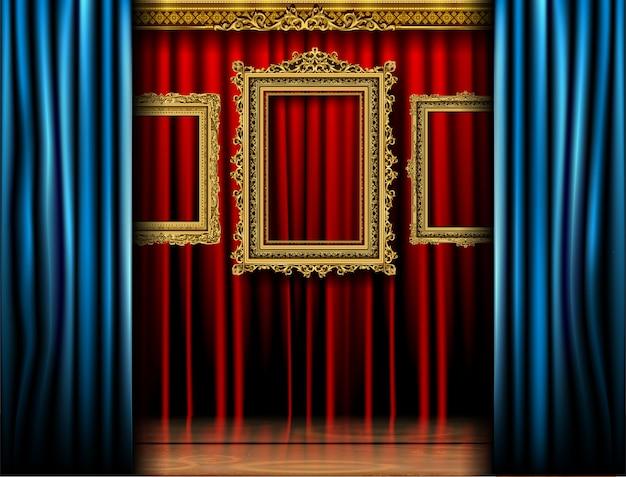 Cadre royal doré sur le produit rideau rouge cenima