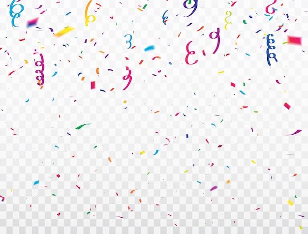 Cadre de rubans de confettis de célébration. carte de voeux riche de luxe.