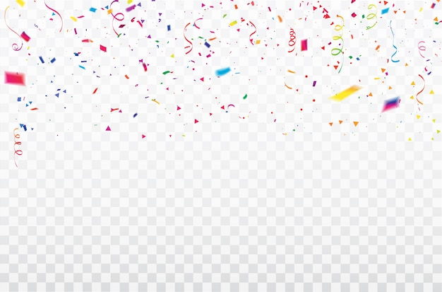 Cadre de rubans de confettis de célébration.