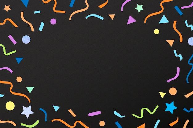 Cadre de rubans mignons, fond noir avec vecteur de confettis géométriques