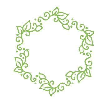 Cadre de s'épanouir calligraphie monoline vert pour carte de souhaits vintage.