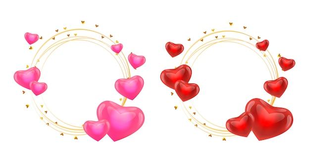 Cadre de saint valentin avec coeurs