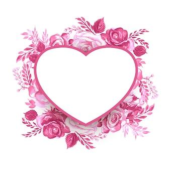 Cadre de saint valentin avec des fleurs