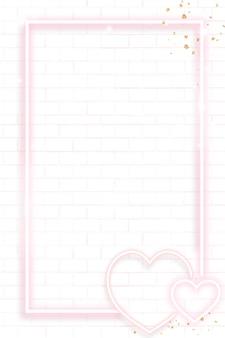 Cadre de la saint-valentin néon rose