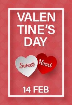 Cadre de la saint-valentin avec texte sweet love in heart