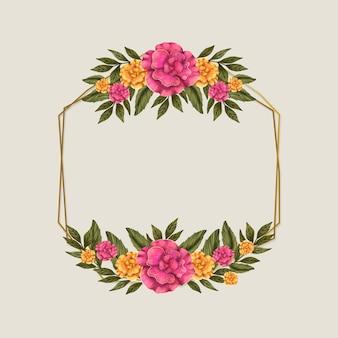 Cadre de saison de printemps avec des fleurs roses et dorées