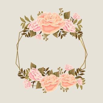 Cadre de saison de printemps avec des roses roses