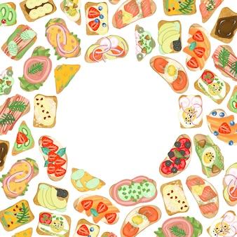 Cadre de sandwichs avec différents ingrédients, dessinés à la main sur un fond blanc