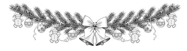 Cadre de sapin de noël avec cloches, boules et ruban isolé sur blanc.