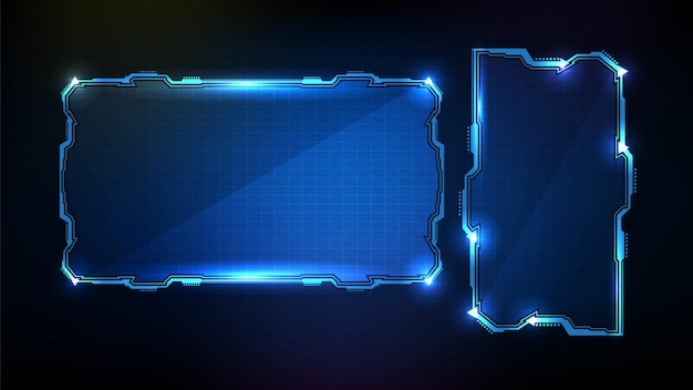 Cadre de science fiction abstrait technologie futuriste bleu brillant hud ui