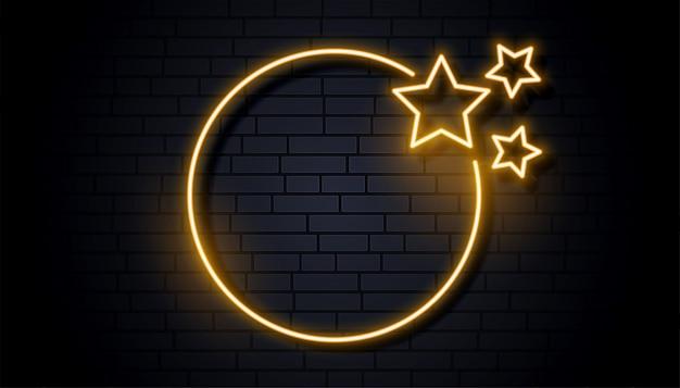 Cadre de signalisation néon vide avec trois étoiles