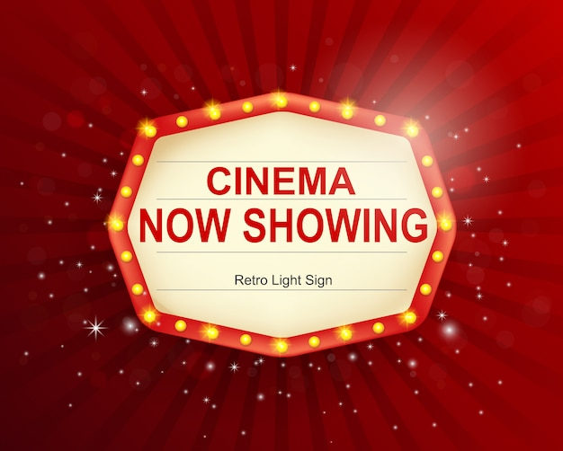Cadre de signe de lumière rétro cinéma, bannière vintage