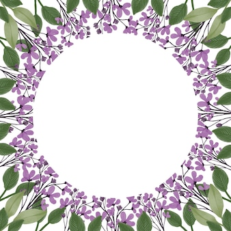 Cadre simple avec bordure de fleurs sauvages violettes