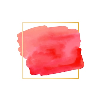 Cadre simple doré avec tache aquarelle