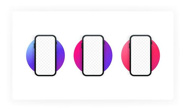 Cadre de smartphone moins d'écran vide. dispositif générique de maquette. ensemble de smartphones ui ux. modèle d'infographie ou d'interface de conception d'interface utilisateur de présentation. modèle d'appareil. vecteur eps 10.