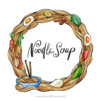 Cadre de soupe aquarelle et nouilles