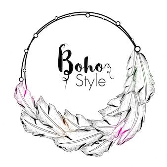 Cadre style boho à la main avec décoration en plumes ethniques.