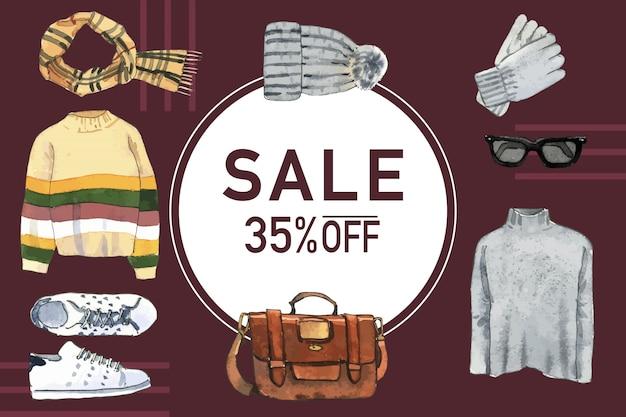 Cadre de style hiver avec chapeau de laine, écharpe, pull, illustration aquarelle de sac