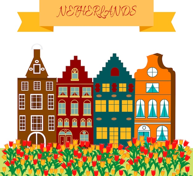 Cadre de symboles culturels et touristiques de holland travel avec sabots et moulins à vent en bois tulipes