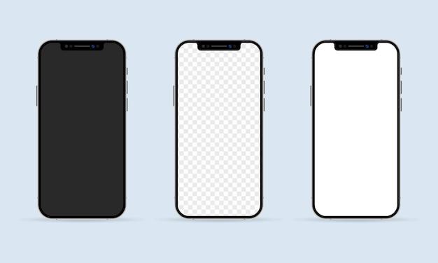 Cadre de téléphone avec des modèles d'affichage vierges.