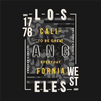 Cadre de texte los angeles avec t-shirt graphique typographie fond camouflage
